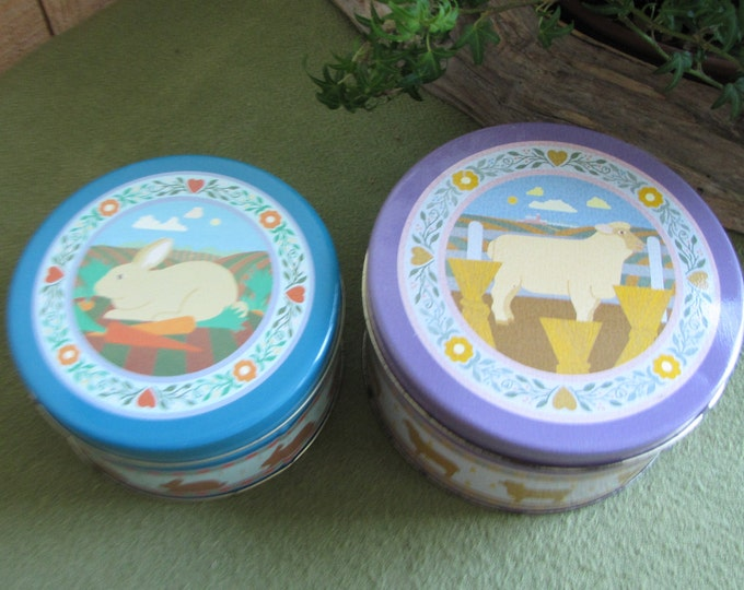 Vintage Tins Two (2) Nesting Tins Cookie Tins Candy Tins Sheep and Rabbits