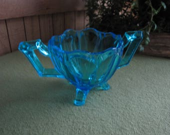Blue Handled Sugar Bowl Footed Vintage Kitchens