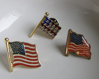 American Flag Pins Set of 3 Small Lapel Pins Vintage Jewelry and Accessories 4th of July