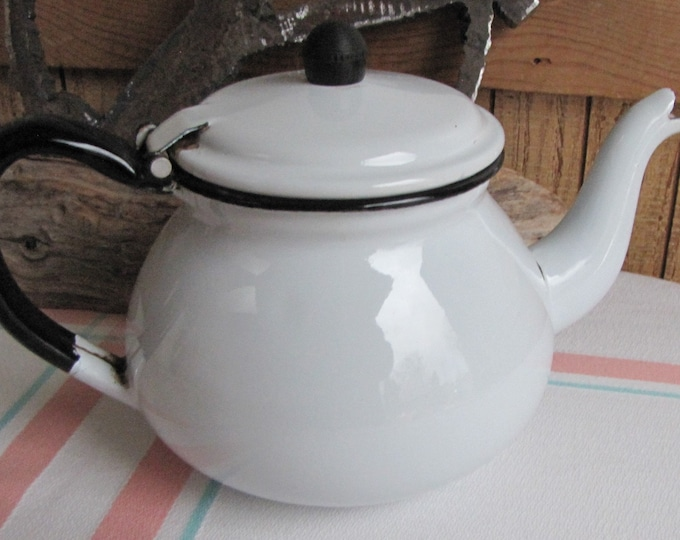White Enamel Teapot Vintage Kitchens and Rustic Farmhouse Camping Gear and Outdoor Dining