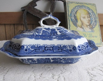 Blue Willow Allerton Lidded Vegetable Dish Vintage Dinnerware and Replacements Imperfections