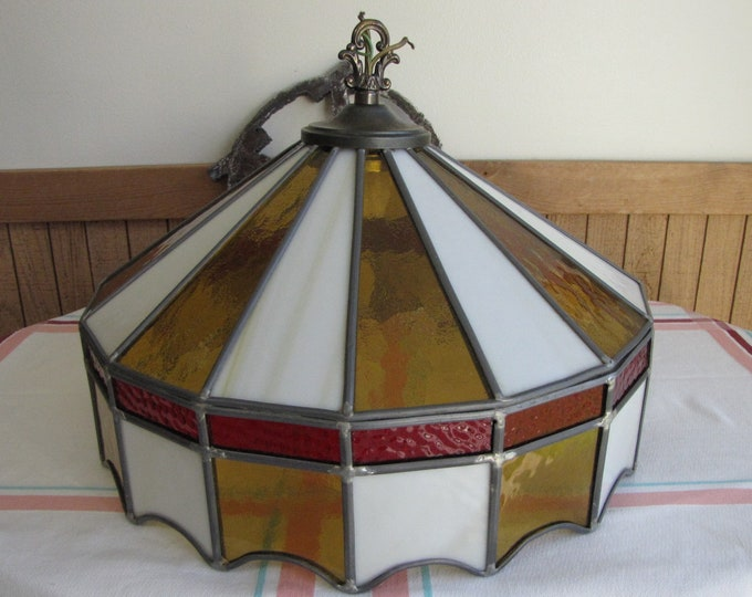 Stain Glass Hanging Lamp 1980s Vintage Lighting