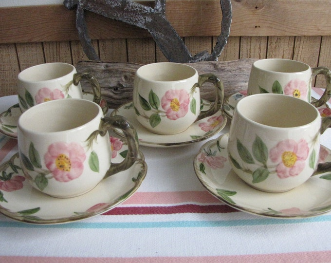 Franciscan Rose Desert mugs and saucers Gladding McBean set of 5