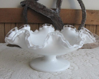 Fenton Silver Crest Bon Bon Dish Vintage Milk Glass Art Glass Crimped and Flared Bowl 1942-1986
