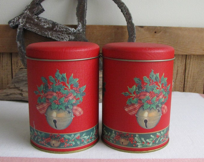 Vintage Christmas Tins Red and Bells Small Christmas Containers Set of Two (2) Holiday Cookie or Candy Tins