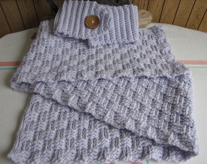 Crocheted Winter Scarf Set Lilac basketweave stitch 100% Acrylic Yarn
