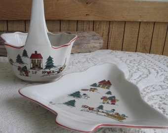 The Joy of Christmas Jamestown Candy Basket and Tree Dish Vintage Holiday Ware