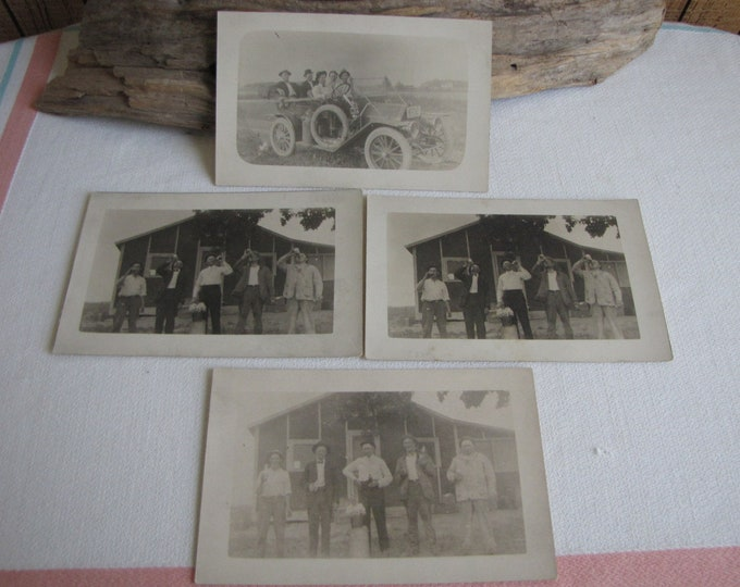 Antique Postcards Autos and Drinking Antique Black and White Photographs Set Four (4) Cards