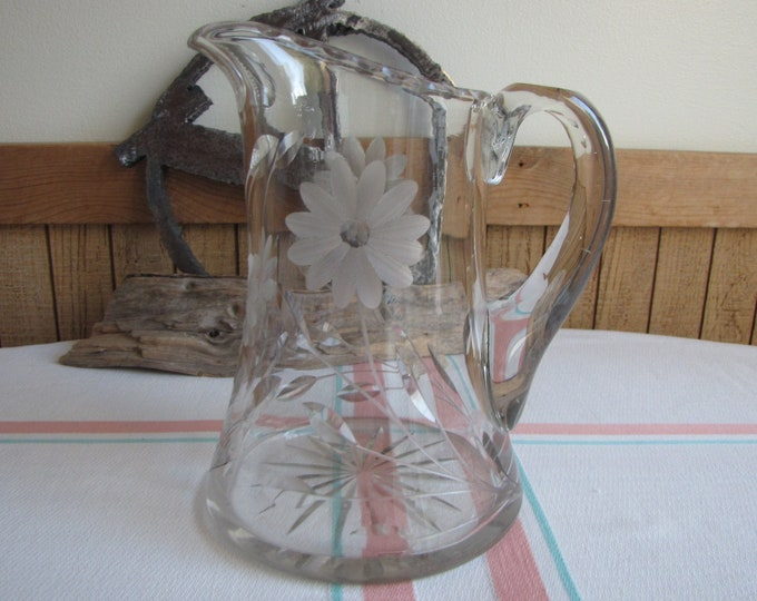Crystal Etched Pitcher Vintage Glass