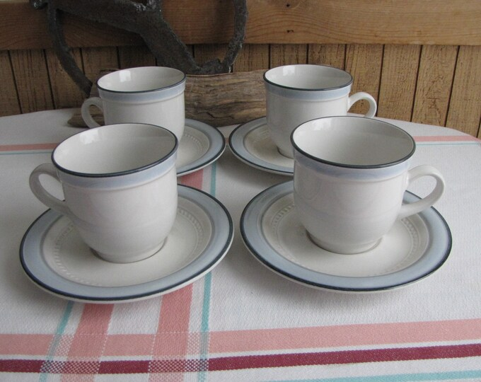 Blue Bouquet Coffee Cups and Saucers Johann Haviland Set of Four (4) Crowning Fashion Vintage Dinnerware