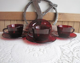 Red Glass Cups and Saucers Vintage Dinnerware and Replacements Three (3) Cups and Four (4) Saucers