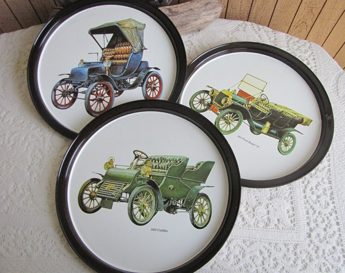 Vintage Auto Motif Metal Bar Trays Vintage Barware and Home Decor 1960s