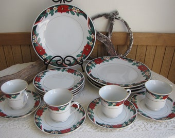 Deck the Halls Service for Four (4) Tienshan Vintage Holiday Dinnerware and Replacements 16 Pieces