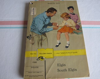 Elgin IL 1959 Phone Book Vintage Yellow Pages and Reference Books