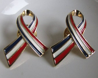 Patriotic support ribbons set of 2 pins Vintage 4th of July lapel pins and accessories