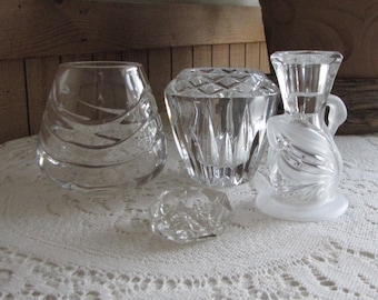 Vintage Crystal Candle Holders Lot of Four (4) Candle Holders and Votives