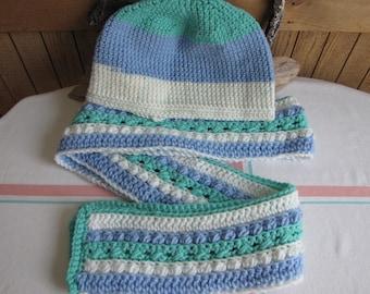 Crocheted Winter Scarf Set Blue Teal White Irish pattern 100% Acrylic Yarn