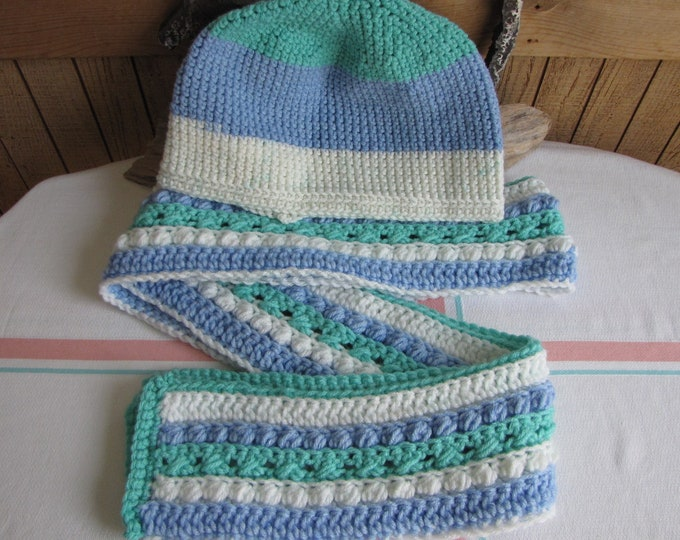 Crocheted Winter Scarf Set Blue Teal White Irish pattern 100% Acrylic Yarn
