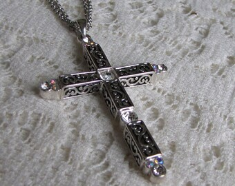 Large Silver Toned Cross Double Strand Chain Rhinestones Vintage Jewelry and Accessories