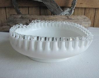Fenton Silver Crest Heart Dish Vintage Milk Glass