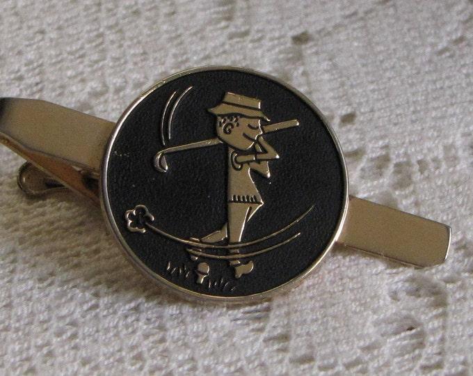 Pioneer Golfer Tie Clip Vintage Mid Century Men's Jewelry and Accessories Semi Formal Wear