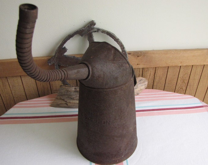 Rusty Oil Can With Flexible Spout One Gallon Vintage Industrial Salvage