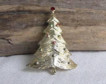 B.J. Christmas Tree Brooch Vintage Holiday Jewelry and Accessories Beatrix Jewelry 1970s