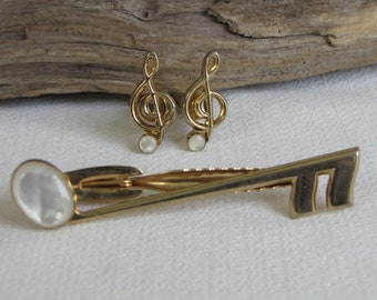 Hickok Musical Note Tie Clip and Cufflinks Set Vintage Men's Jewelry and Accessories