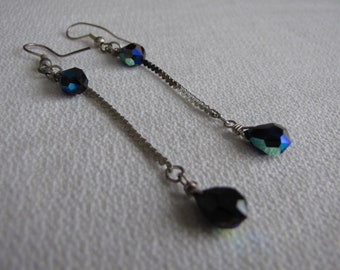 Sterling Silver and Blue Crystal Earrings Vintage Jewelry and Accessories