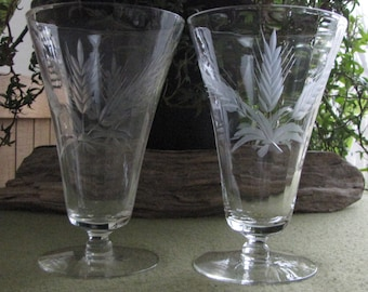 Vintage Wheat Etched Glasses Ice Cream or Dessert Footed Parfait Glass Set of Two (2)