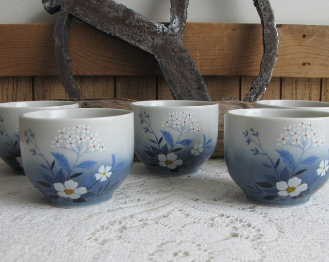 Otagiri Tea Cups Set of Five (5) Hand Painted Japanese Tea Cups