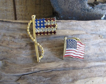 American Flag Pins Vintage Brooches and Pins
