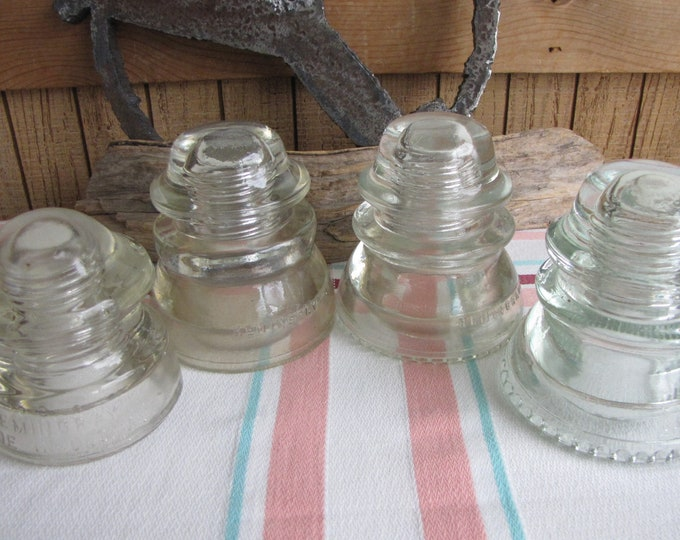 Hemingray Electric Insulators Industrial Salvage and Vintage Glass Lot of Four (4)
