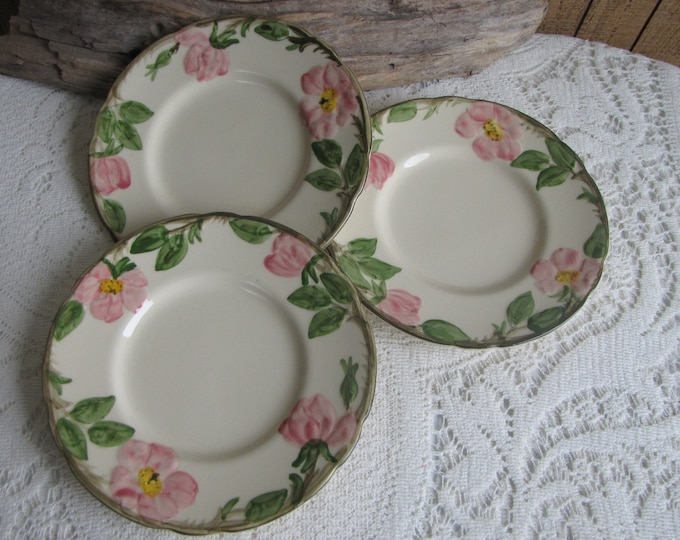 Franciscan Desert Rose Bread Plates Vintage Dinnerware and Replacements Three (3) Pieces Circa 1960s
