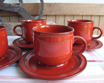 Sunset Orange Cups and Saucers Ceramano West Germany Set of Four (4) Vintage Dinnerware and Replacements