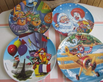 Vintage McDonald's plastic plates holiday ware set of 4