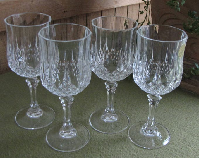 Cristal D'Arques Crystal Wine Glasses Longchamps Pattern Vintage Barware Set of Four (4) Made in France