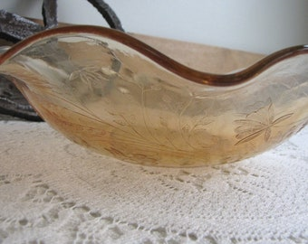 Louisa Floragold Ruffled Bowl Ruffled Coffee Table or Centerpiece Bowl Jeannette Carnival Glass