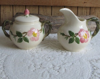 Franciscan Desert Rose Cream and Sugar Bowl Vintage Dinnerware and Replacements Made in California 1949-1953