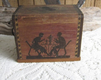 Vintage Playing Cards and Wood Box Holder Made in Japan