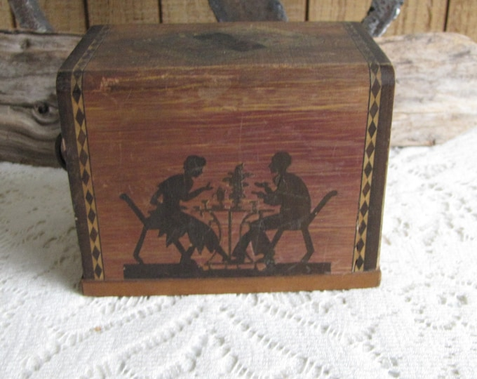 Vintage Playing Cards and Wood Box Holder Silhouette Card Players Made in Japan