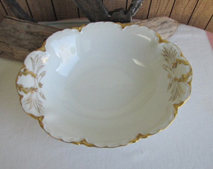 Haviland Ranson Vegetable Bowl Vintage Dinnerware and Replacements Gold Trimmed Circa 1920s