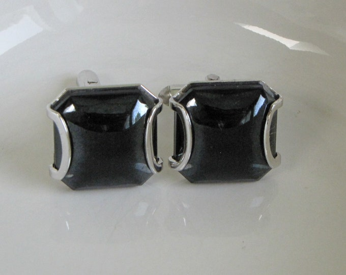 Swank Silver Toned Cufflinks With Black Square Cabochon Vintage Men's Jewelry and Accessories