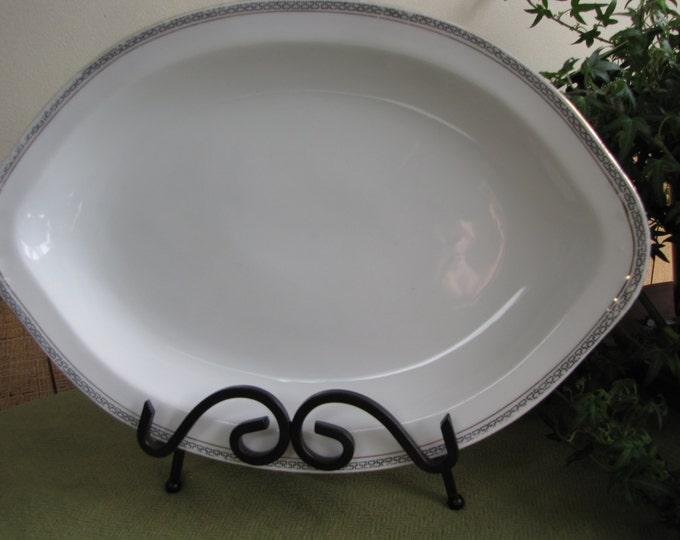 Austrian Dinner Platter Royal Austria, O&EG Porcelain in a Greek Key Pattern 13.25 x 9 Antique Dinnerware and Replacements