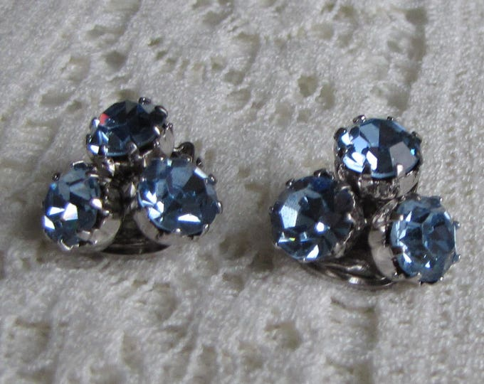 Weiss Blue Rhinestone Earrings Vintage Women's Jewelry and Accessories