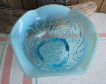 Northwood Meander blue opalescent bowl Glass 1904 Antique Glass