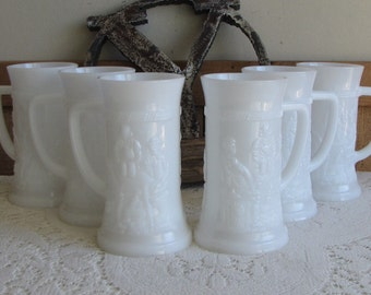 Milk Glass Beer Steins Set of Six (6) German Bar Scene Mugs Federal Glass Co. Vintage Barware