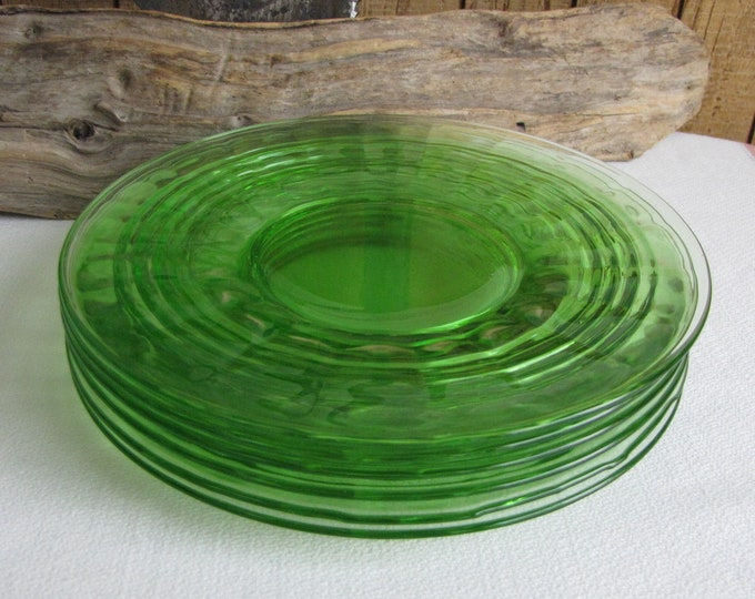 Green Depression Glass Bread Anchor Hocking Circle Vintage Dinnerware and Replacements Set of Six (6) 1930 to 1935