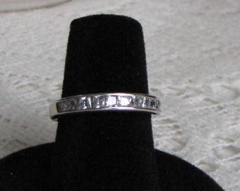 Sterling Silver and Cubic Zirconia Ring Row of Diamonds Anniversary Ring Vintage Jewelry and Accessories