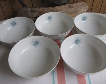 Easterling Celestial cereal bowls 1950s set of 5 Vintage Dinnerware and Replacements